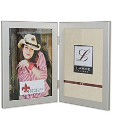"Brushed Silver Hinged Double Metal Picture Frame - 5"" x 7"""