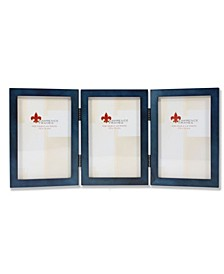 """Hinged Triple Blue Wood Picture Frame - Gallery Collection - 4"""" x 6"""""""