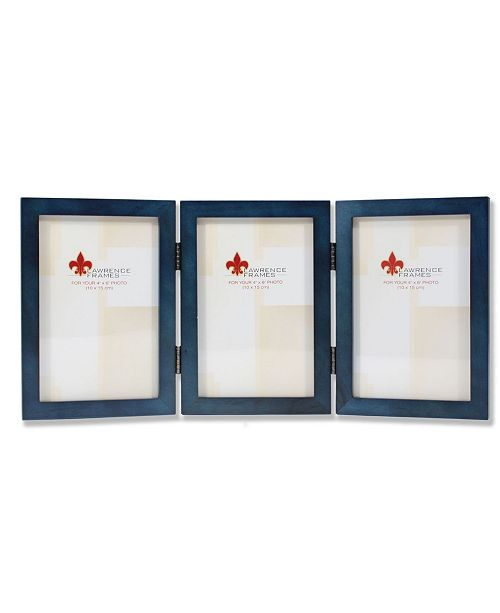 """Lawrence Frames Hinged Triple Blue Wood Picture Frame - Gallery Collection - 4"""" x 6"""""""