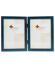 """Hinged Double Blue Wood Picture Frame - Gallery Collection - 5"""" x 7"""""""