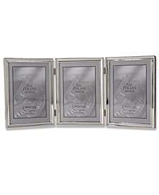 "Polished Silver Plate Hinged Triple Picture Frame - Bead Border Design - 5"" x 7"""