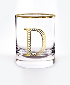 Qualia Glass Monogram Rim and Letter D Double Old Fashioned Glasses, Set Of 4