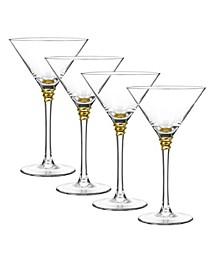Helix Gold Martini Glasses, Set Of 4