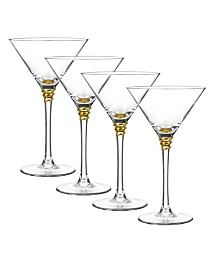 Qualia Glass Helix Gold Martini Glasses, Set Of 4