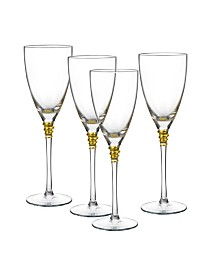 Qualia Glass Helix Gold Goblets, Set Of 4