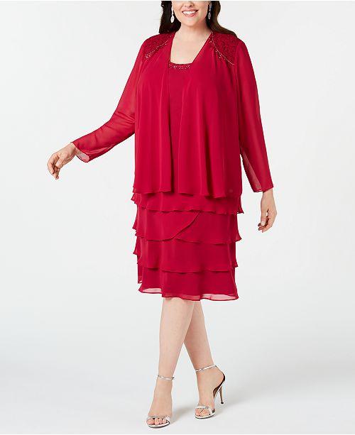 SL Fashions Plus Size Beaded Dress & Jacket