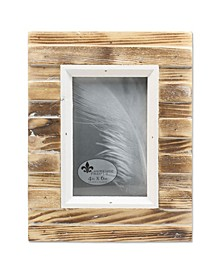 """Natural Weathered Wood Picket Fence Picture Frame - 4"""" x 6"""""""
