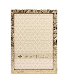 "Gold Metal Picture Frame with Linen Pattern - 5"" x 7"""