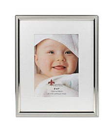 "Matted Gray Enamel and Silver Metal Picture Frame - 8"" x 10"" without Mat - 5"" x 7"""