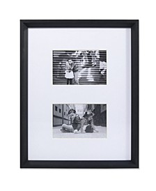 "Wide Border Double Matted Frame - Gallery Black 11"" x 14"" - 4"" x 6"""