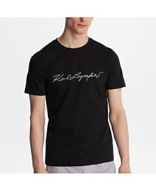 Karl Lagerfeld Paris Mercerized Cotton Embroidered Signature Tee