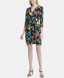 Calvin Klein Printed 3/4-Sleeve Wrap Dress