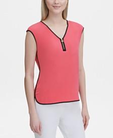 Calvin Klein Sleeveless Zipper-Trim Top