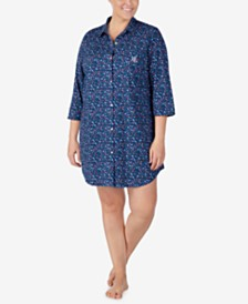 Lauren Ralph Lauren Plus Size Cotton Knit Sleepshirt