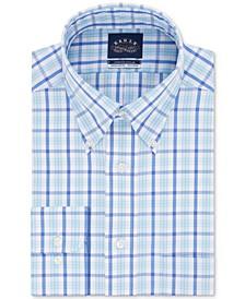 Men's Classic/Regular Fit Non-Iron Flex Collar Blue Check Dress Shirt