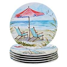 Ocean View Melamine 6-Pc. Dinner Plate Set