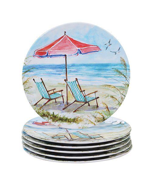 Certified International Ocean View Melamine 6-Pc. Dinner Plate Set