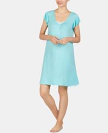 Ellen Tracy Mesh-Trim Flounce-Back Printed Chemise Nightgown