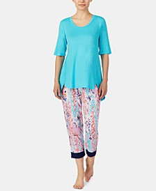 High-Low Top and Printed Cropped Pants Pajama Set