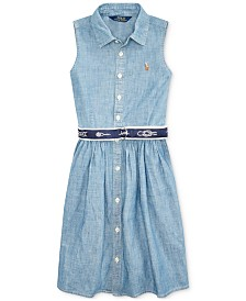 Polo Ralph Lauren Big Girls Belted Chambray Shirtdress