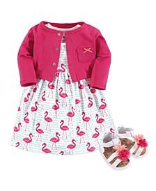 Girl Dress, Cardigan, Shoe Set, 3 Piece