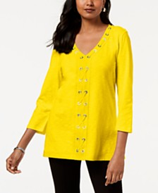JM Collection Petite Cotton Grommet-Laced Tunic, Created for Macy's