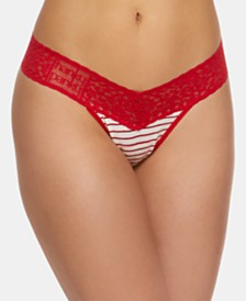 Hanky Panky Women's Plus-Size Stripe-Print Lace Low-Rise Thong 651581