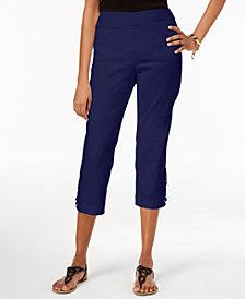 JM Collection Petite Crochet-Appliqué Capri Pants, Created for Macy's