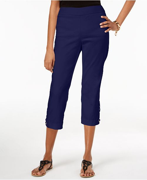 JM Collection Petite Crochet-Appliqué Capri Pants, Created for Macy's