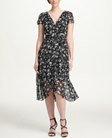 DKNY Floral Printed High-Low Surplice Chiffon Dress