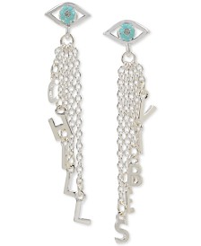 BCBGeneration Silver-Tone Chill Vibes Affirmation Mystical Eye Linear Drop Earrings