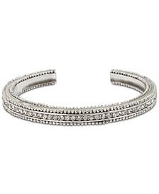 Silver-Tone Pavé Textured Cuff Bracelet