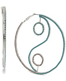 BCBGeneration Silver-Tone Pavé & Stone Yin Yang Extra Large Hoop Earrings