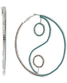 BCBGeneration Silver-Tone Pavé & Stone Yin Yang Hoop Earrings