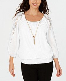 Textured Crochet-Sleeve Necklace Gauze Top, Created for Macy's