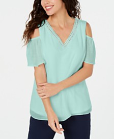 JM Collection Studded Cold-Shoulder Woven Top, Created for Macy's