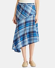 Lauren Ralph Lauren Plaid Asymmetrical Hem Skirt