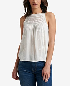 Embroidered Mixed Media High Neck Halter Top