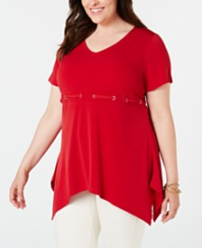 JM Collection Plus Size Embellished Handkerchief-Hem Tunic, Created for Macy's