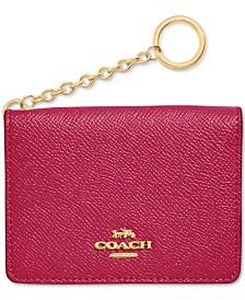 COACH Crossgrain Leather Key Ring Card Case