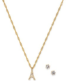 Gold-Tone Crystal Stud Earrings & Eiffel Tower Pendant Necklace Set, Created for Macy's