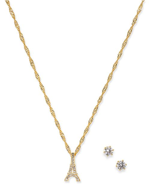 Charter Club Gold-Tone Crystal Stud Earrings & Eiffel Tower Pendant Necklace Set, Created for Macy's