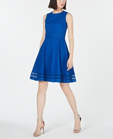 Calvin Klein Eyelet Lace Fit & Flare Dress