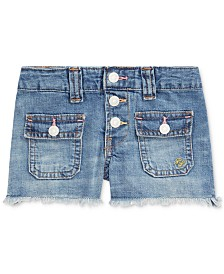 Polo Ralph Lauren Big Girls Frayed Cotton Denim Shorts