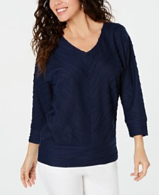 JM Collection Petite Wavy-Texture Dolman Top, Created for Macy's