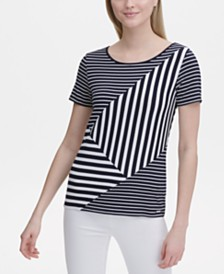 Calvin Klein Short-Sleeve Multi-Stripe T-Shirt