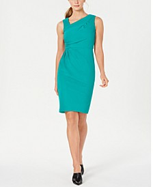 Asymmetrical-Neck Sheath Dress