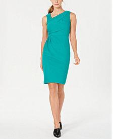 Calvin Klein Asymmetrical-Neck Sheath Dress
