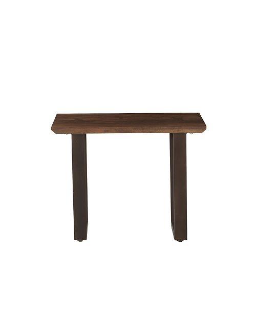 "World Interiors Mapai Acacia Wood Side Table in Walnut Finish - 28"" x 22"" x 22"""