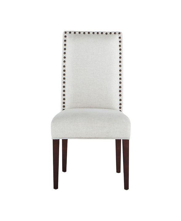 World Interiors Jona Linen Dining Chairs with Dark Walnut Legs, Set of 2